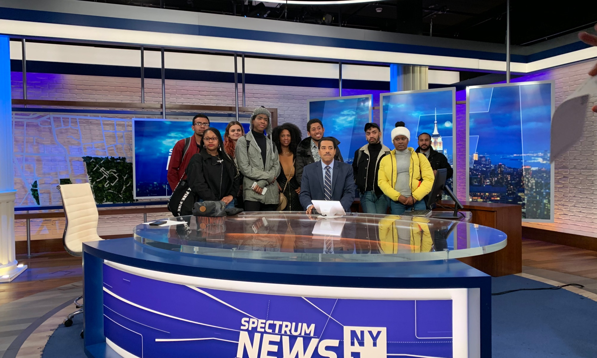 City College Students at the Anchor Desk at SpectrumNews NY1