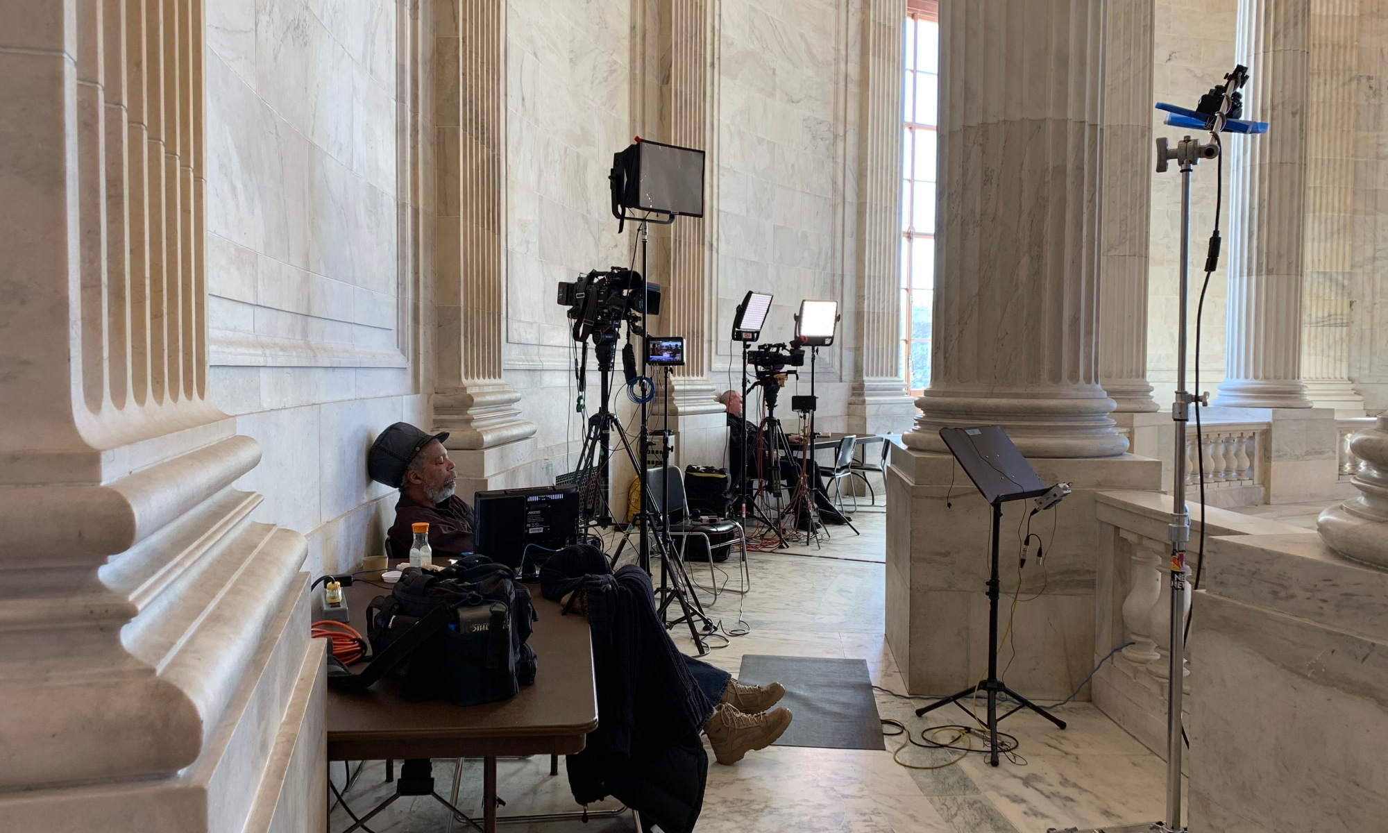 TV Crews set up in the Russell Building, Washington, D.C.